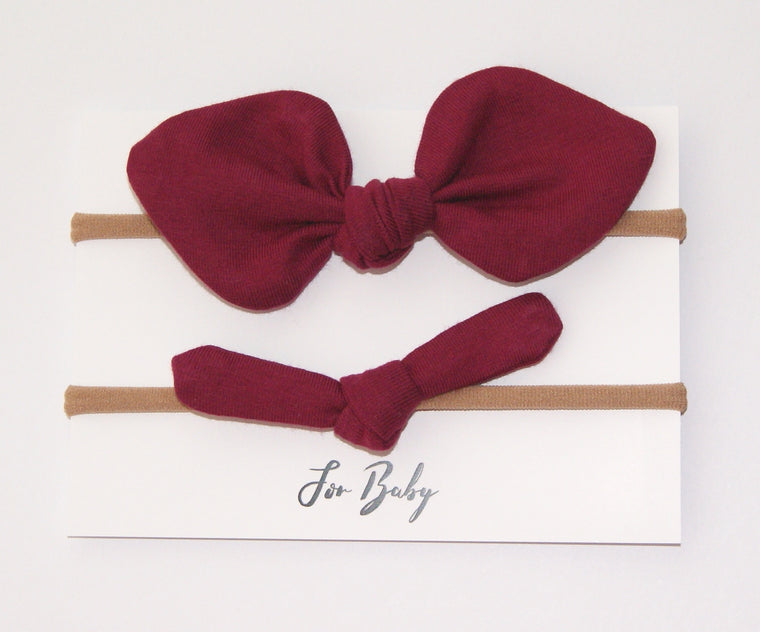 Mini Hair Bow Duo- Berry