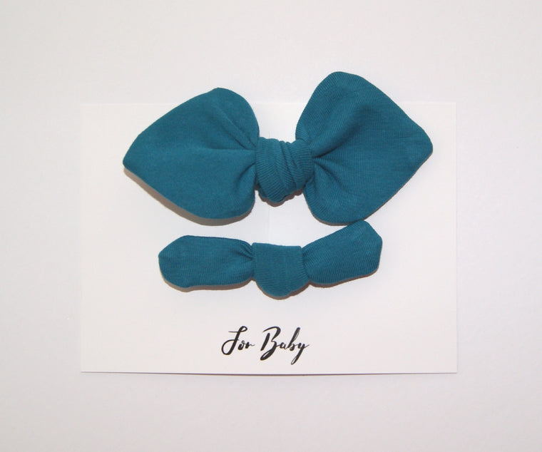 Mini Hair Bow Duo- Teal