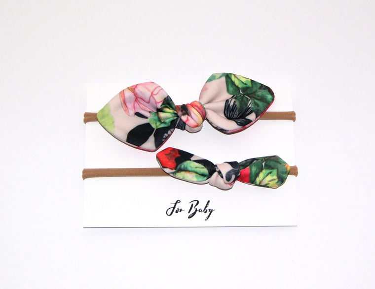 Mini Hair Bow Duo- Floral Rose