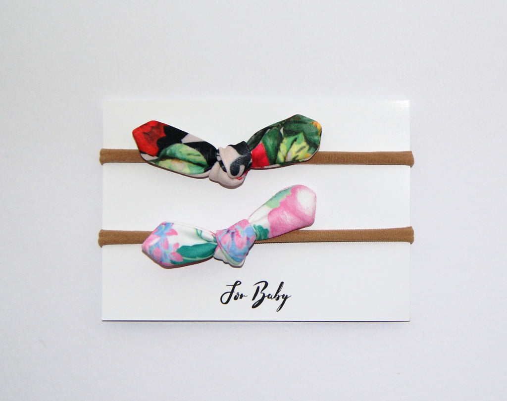 Tiny Hair Bow Duo- Floral