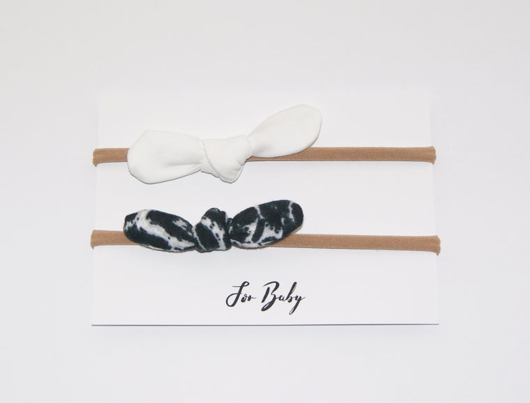 Monochrome baby bow hairband