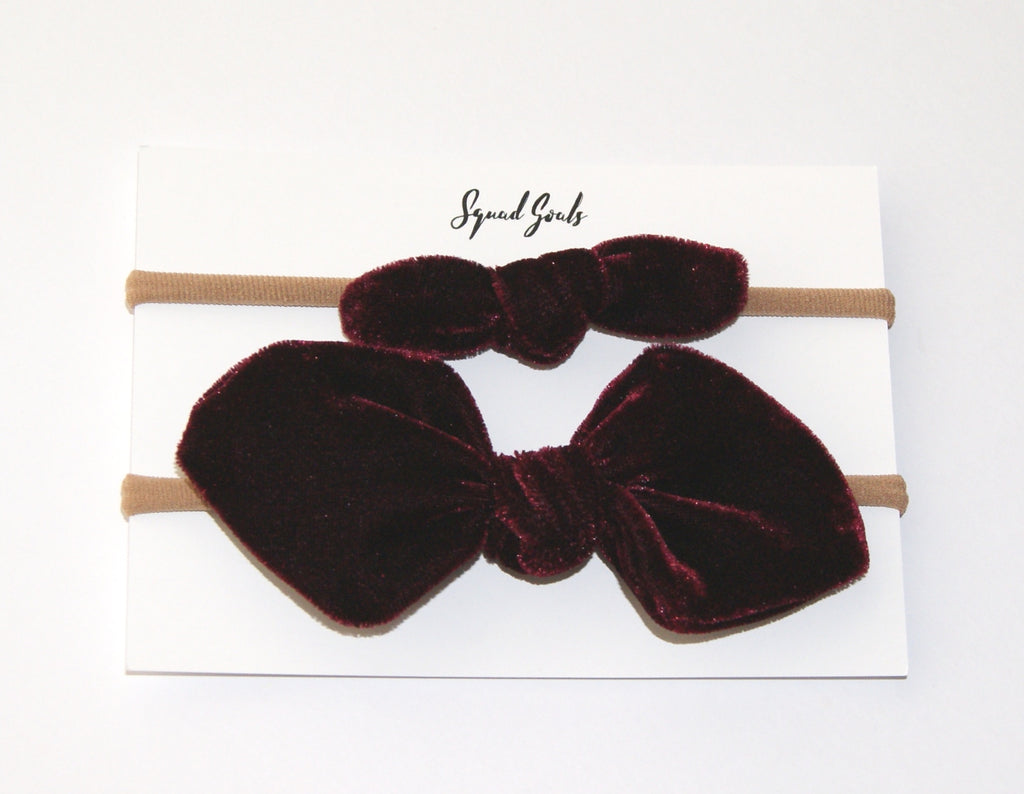 Red velvet hair bow for christmas