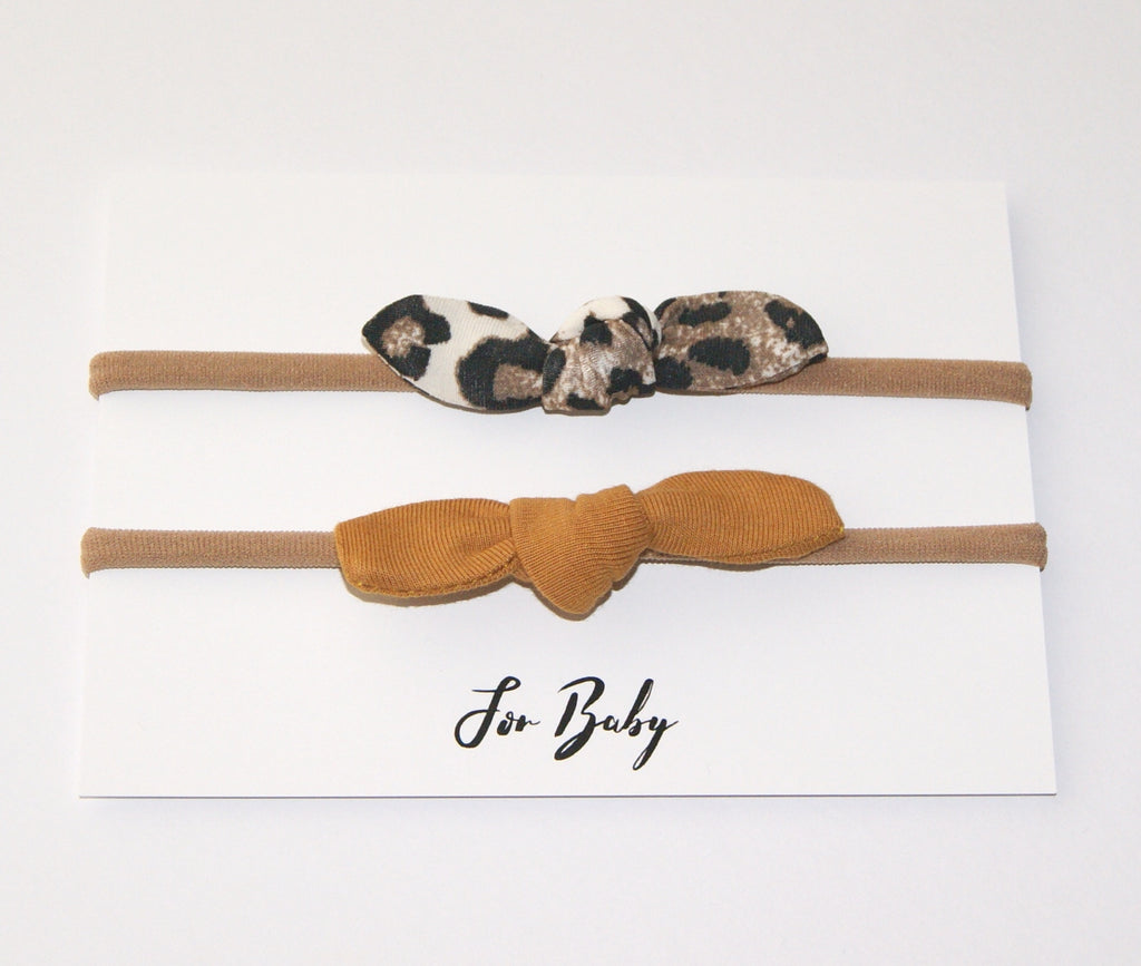 Tiny Hair Bow Duo- Leopard and Mustard