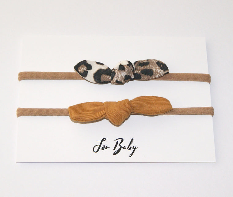 Tiny Hair Bow Duo- Leopard and Mustard c412f902089