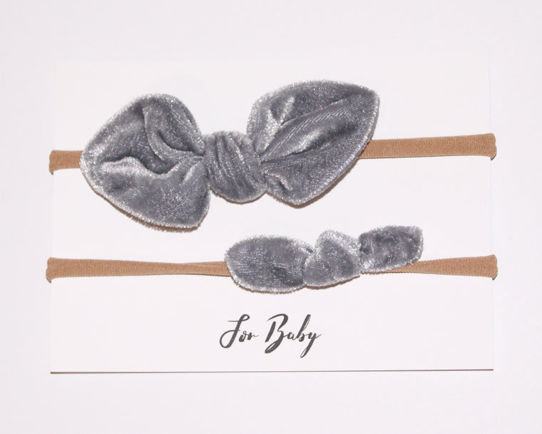 Mini Hair Bow Duo- Silver velvet
