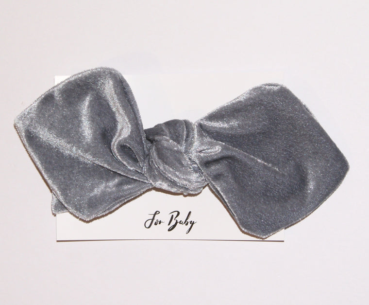 Baby Headband Bow in Silver Grey velvet