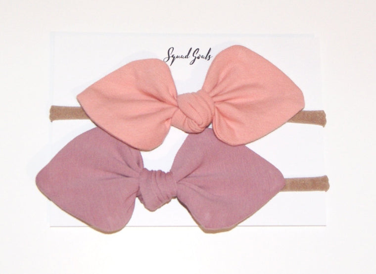 Small Bow set- Peach and Dusky Pink