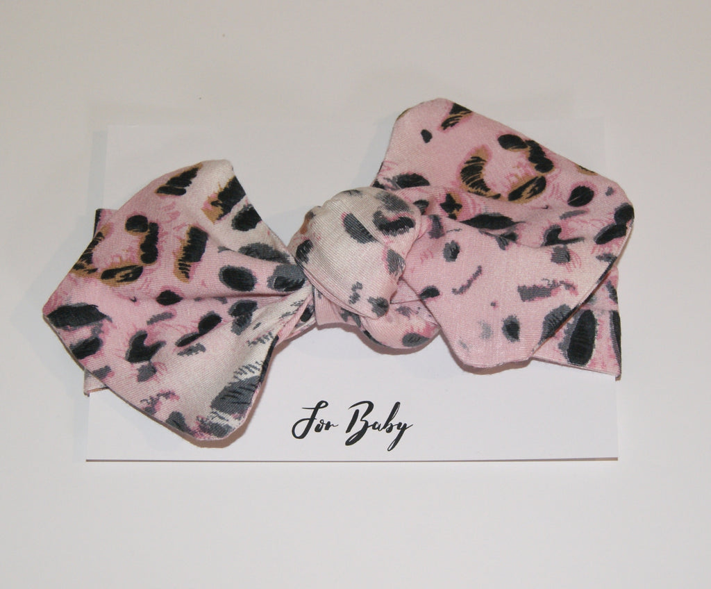 Baby Headwrap Bow in Pink animal print