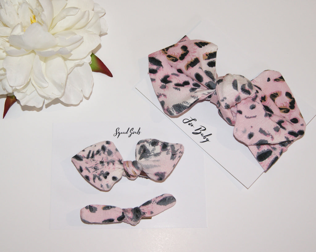 Mini Hair Bow Duo- Pink Leopard print