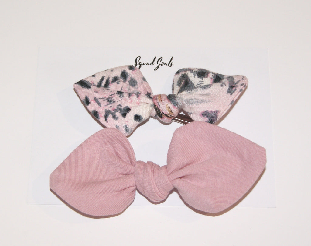 Small Bow set- Dusky Pink Leopard print