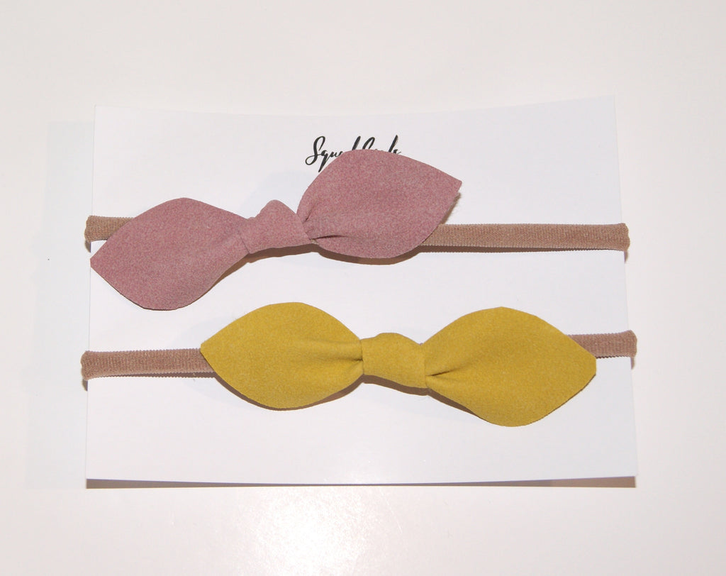 Suede Hair Bow Duo- Mustard and Dusky Pink