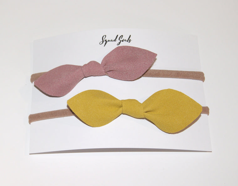 Suede girls bows