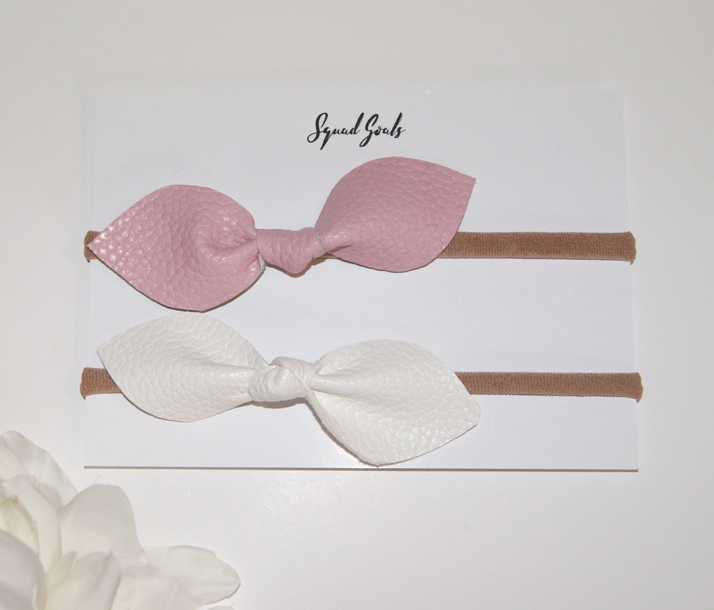 Leather Hair Bow Duo- Pink and White
