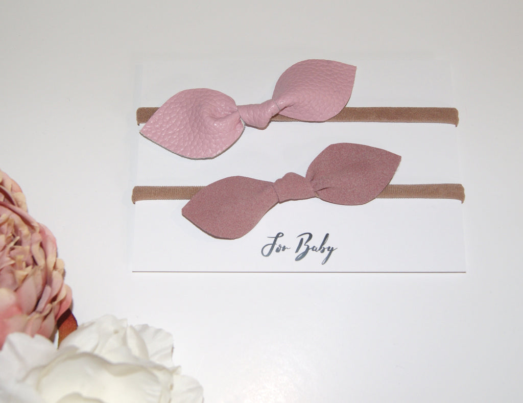 Dusky Pink Hair Bow Duo- Leather and Suede, Hair Clip