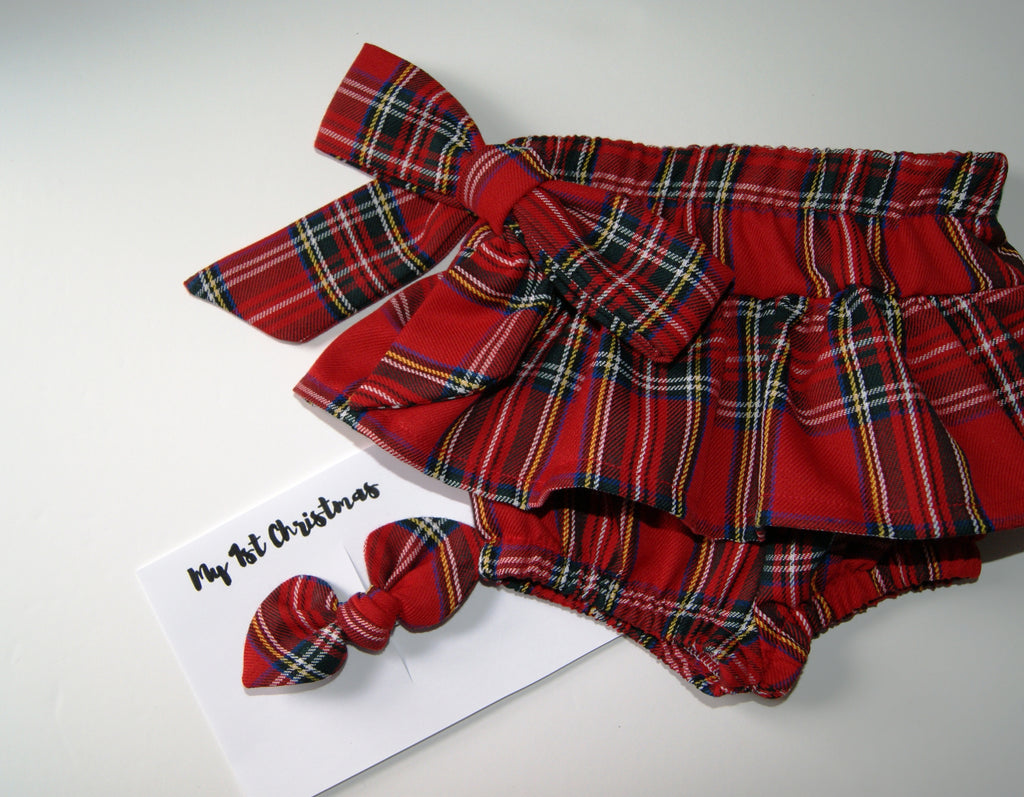 Ruffle Bloomers and Bow set- Tartan