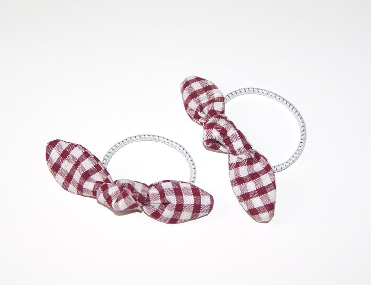 School gingham Pigtail Bow set- Tiny