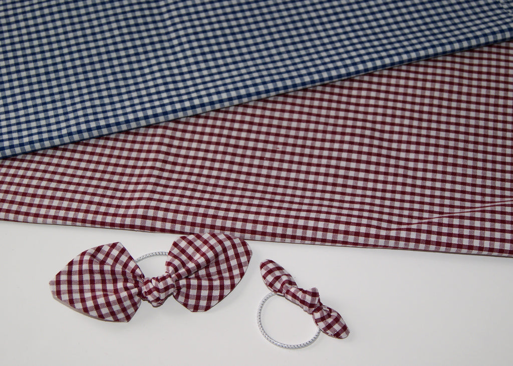 School gingham Pigtail Bow set- Small
