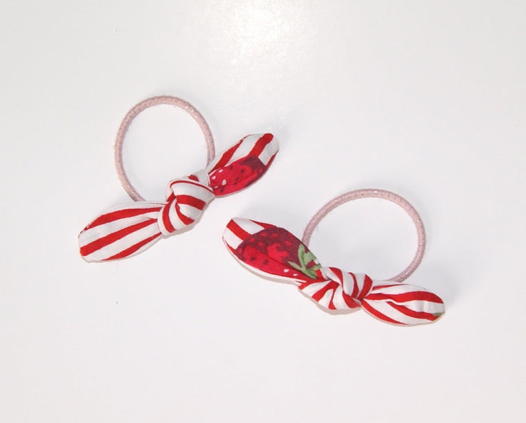 Pigtail Bow set- Strawberry, Tiny