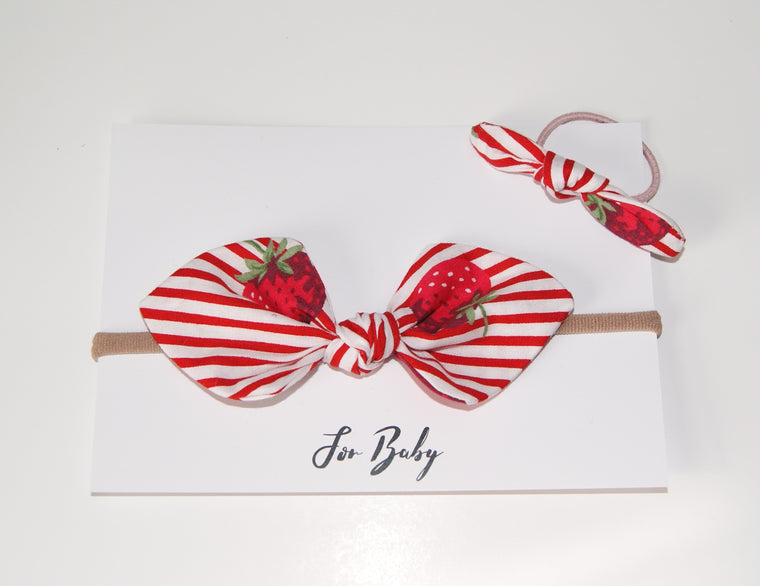 Mini Hair Bow Duo- Strawberry