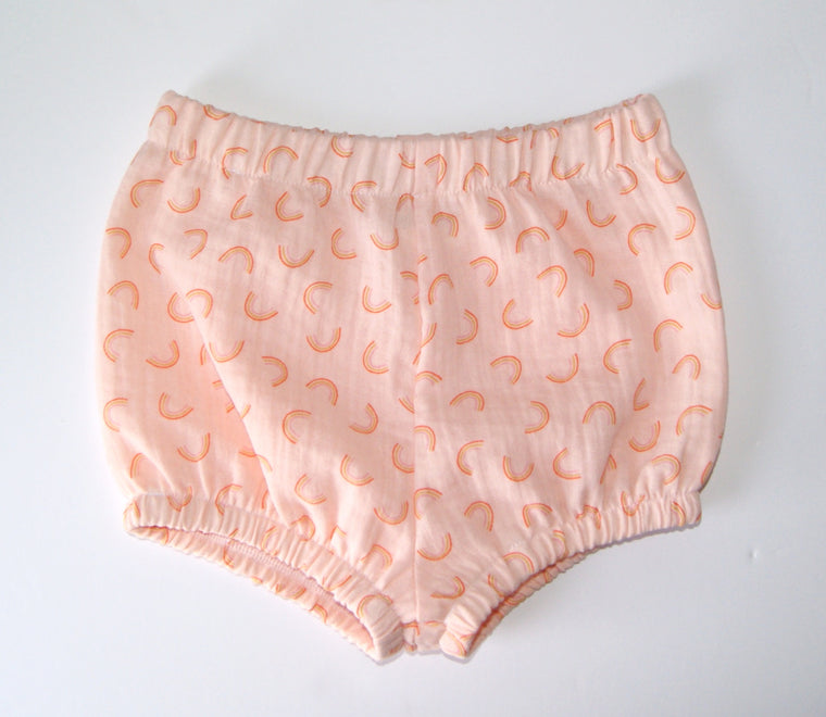 Peach rainbow Bloomers for baby and toddler with Bow