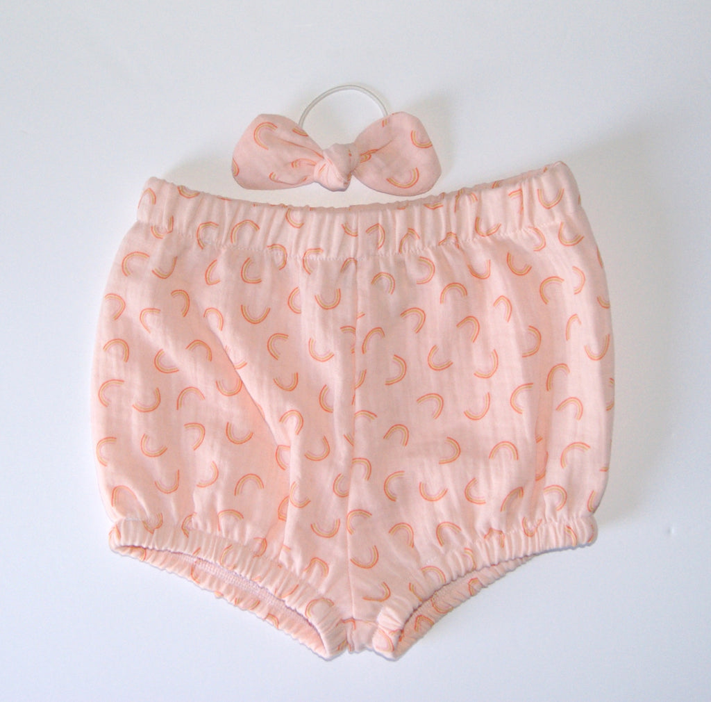 Peach Rainbow Bloomers and Bow set
