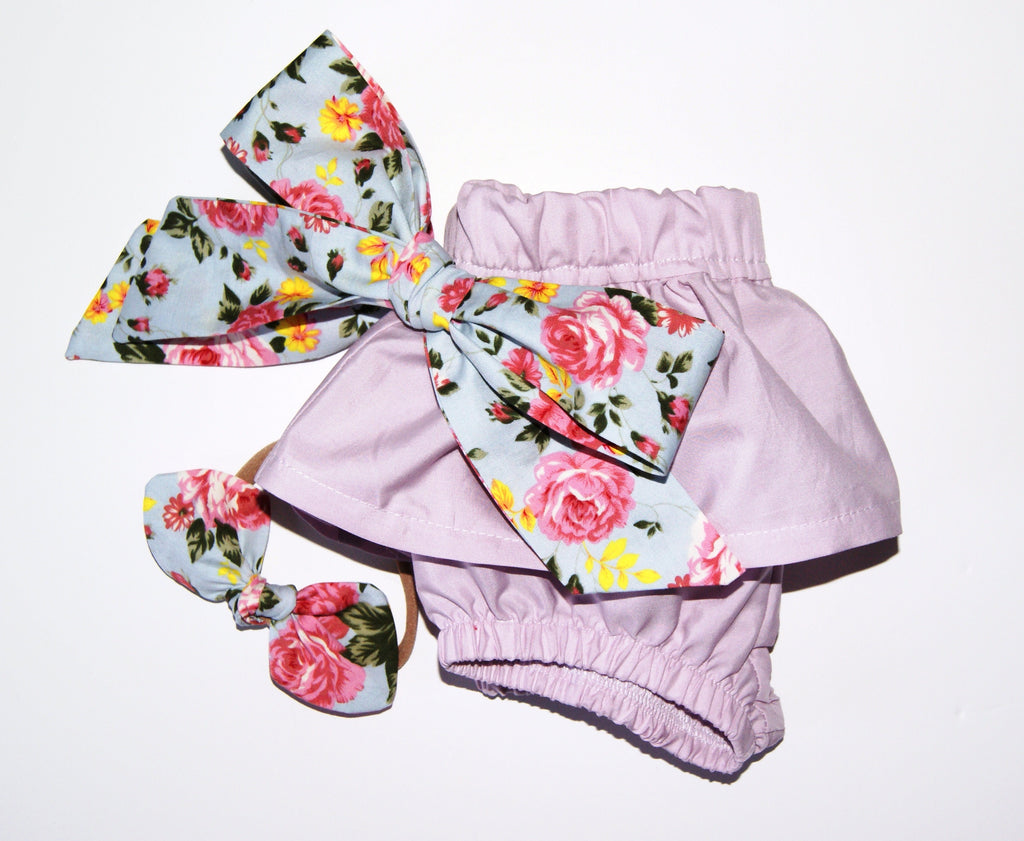 Floral ruffle Bloomers and Hair bow set
