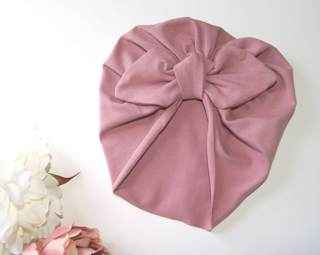 Baby turban with Bow- Rose Floral