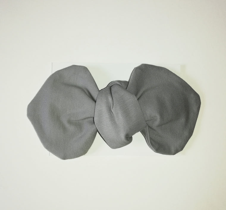 Grey Headwrap Bow