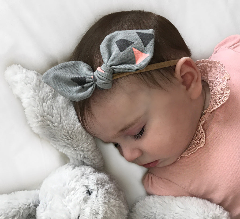 Grey and Pink Baby headband