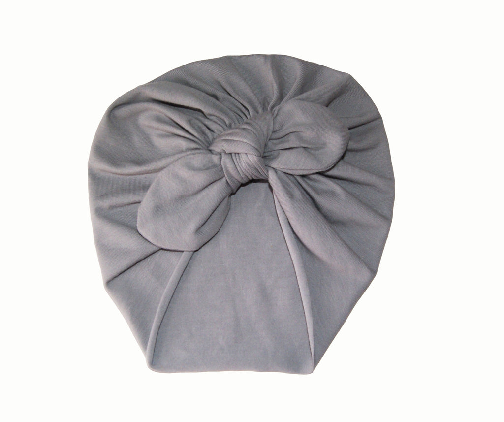 Turban with Bow- Dove Grey
