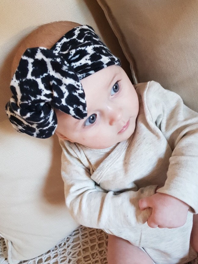 Monochrome Baby Girl Bow