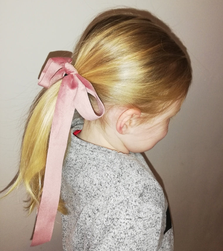 Velvet ribbon Hair Bow- Dusky Pink