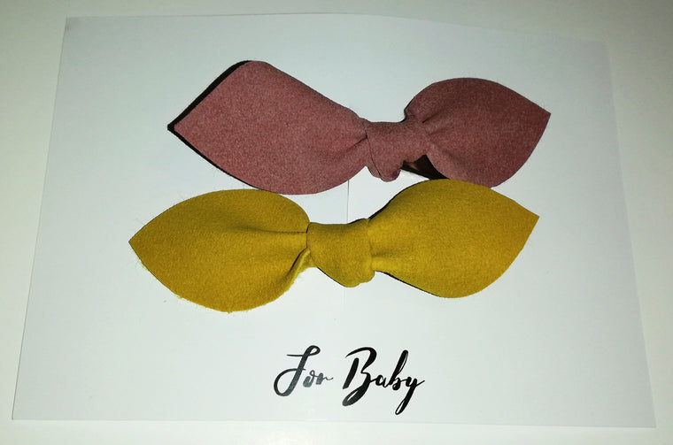 Suede hair clips