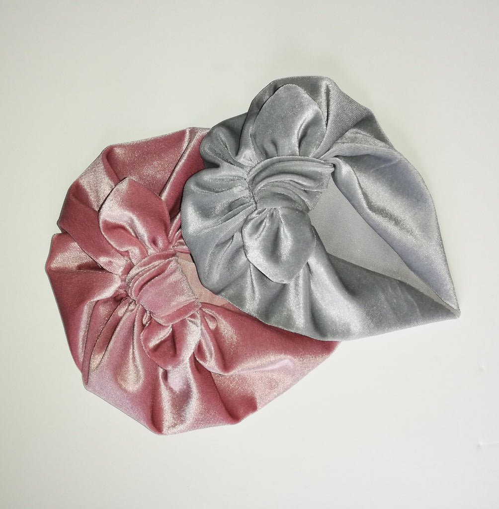 Baby turban with Bow- Velvet Dusky Pink