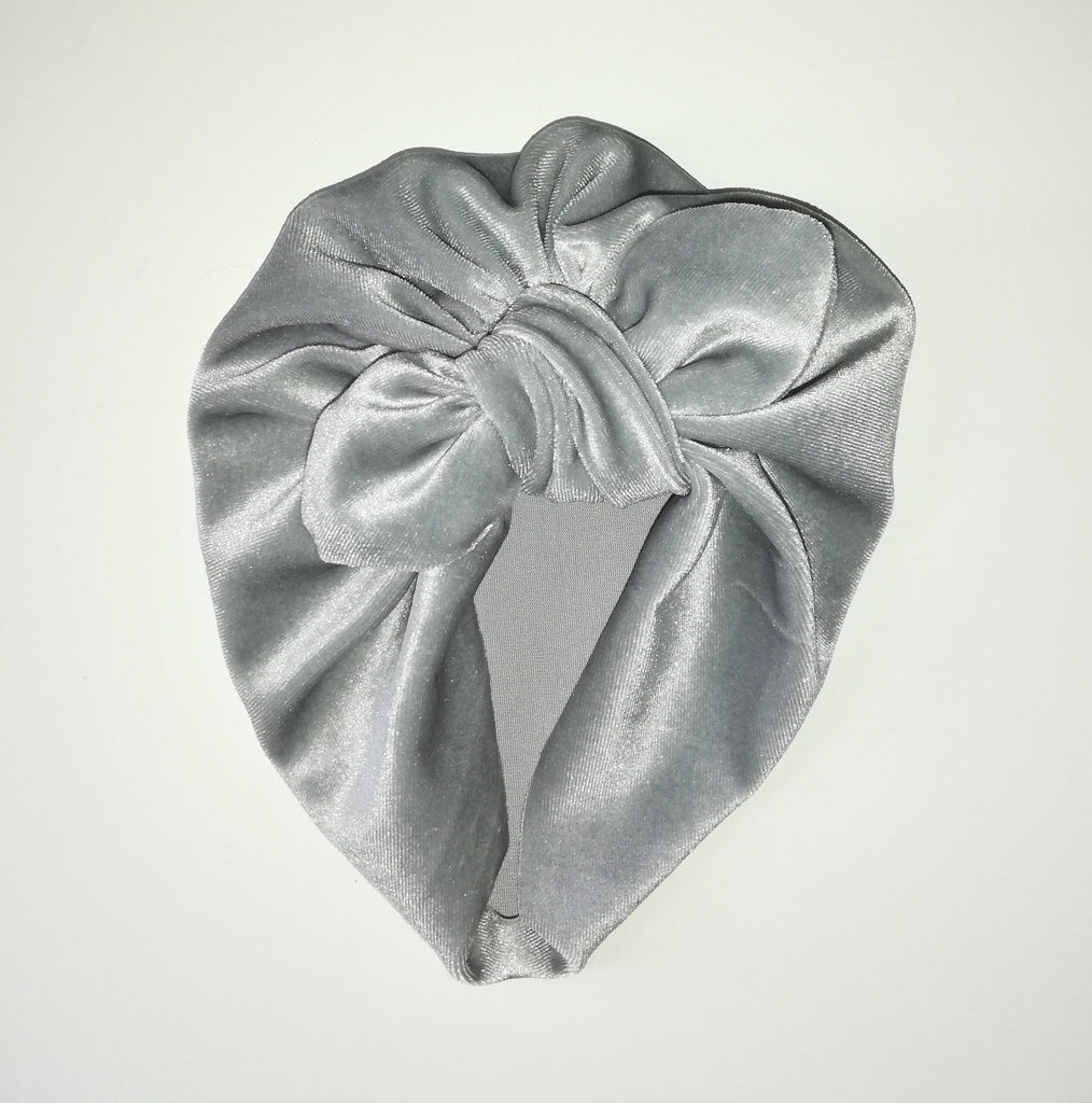 Baby turban with Bow- Velvet Silver