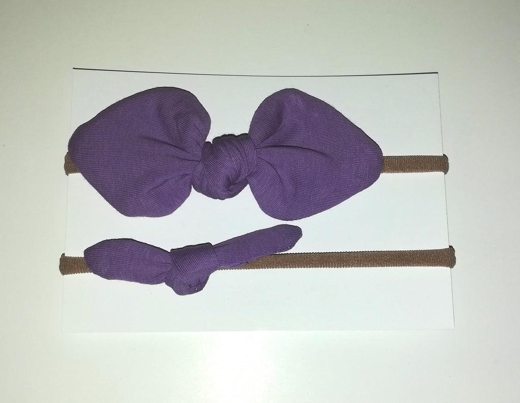 Mini Hair Bow Duo- Purple