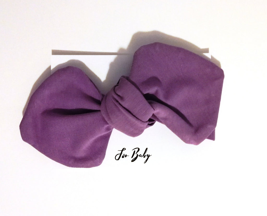 Purple headwrap bow