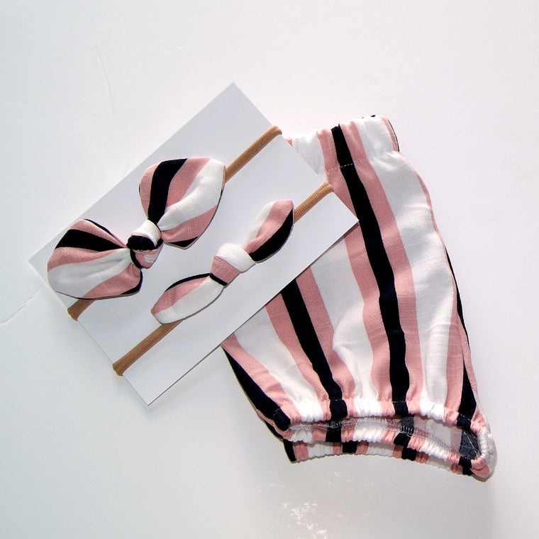 Pink stripe Bloomers and Hair bow set