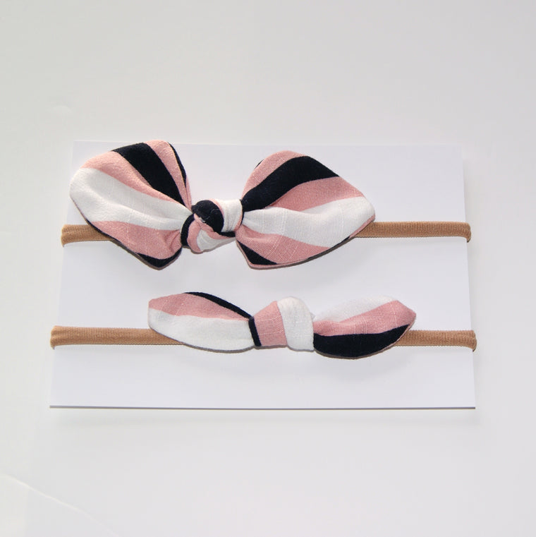 Striped linen Hair Bow Duo