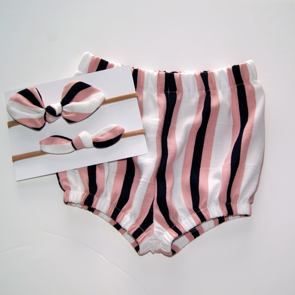 Pink striped Linen Bloomers for baby and toddler