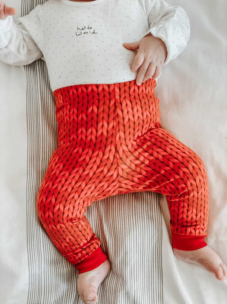 Red Knit unisex Leggings