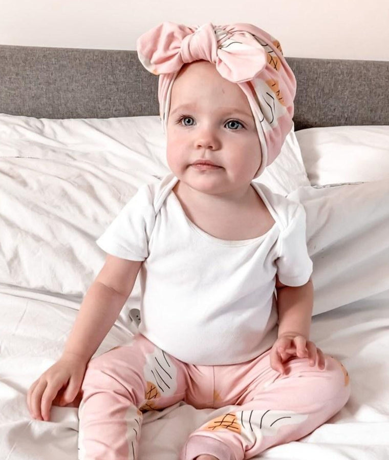 Baby turban with Bow- Ice Cream