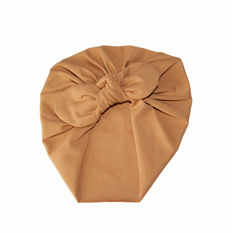 Baby turban with Bow- Latte
