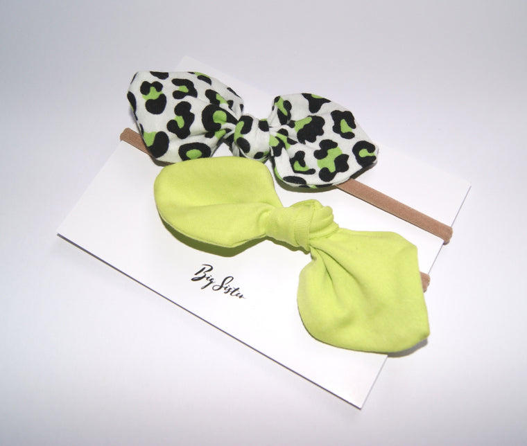 Neon girl hair bow set