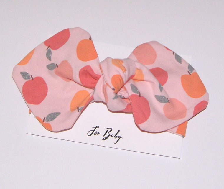 Peach print Girl Bow headband