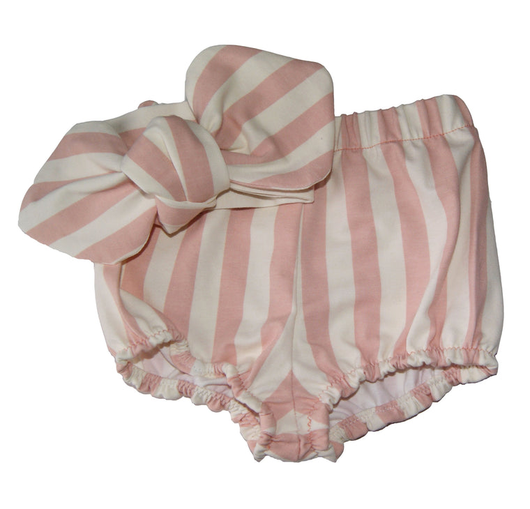 Pink and White stripe Bloomers and Hair bow set