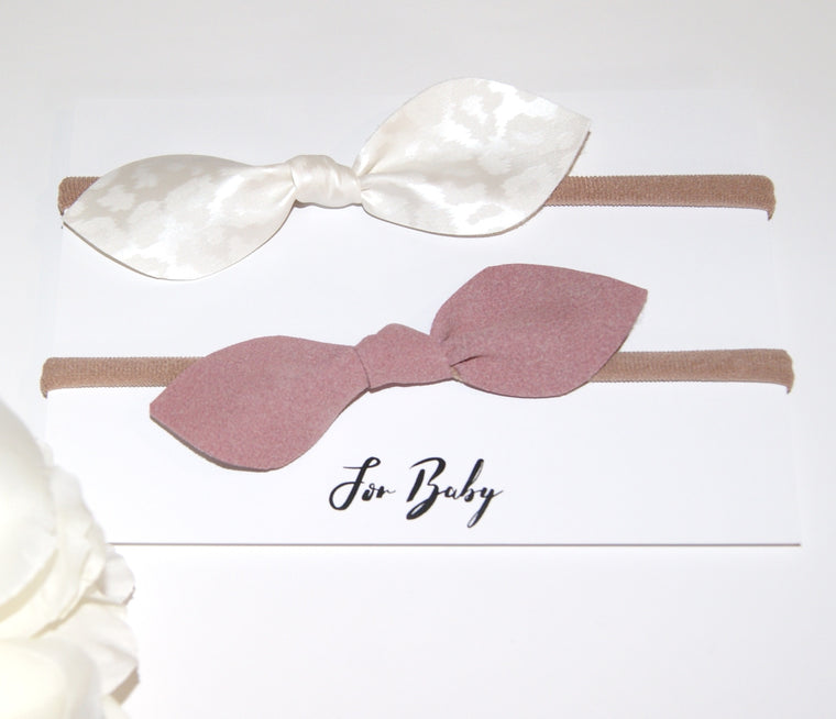 Leather Hair Bow Duo- Pink and White Leopard print, Hair Clip