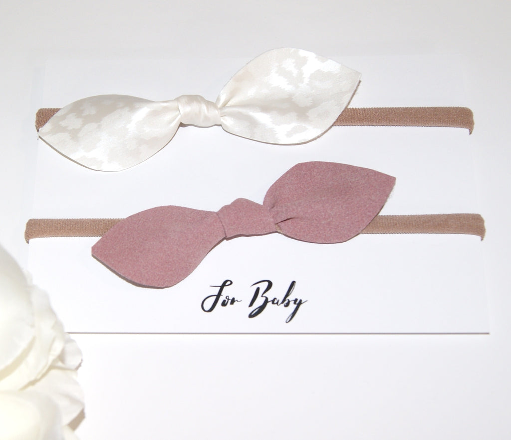 Leather Hair Bow Duo- Pink and White Leopard print, Hair Ties