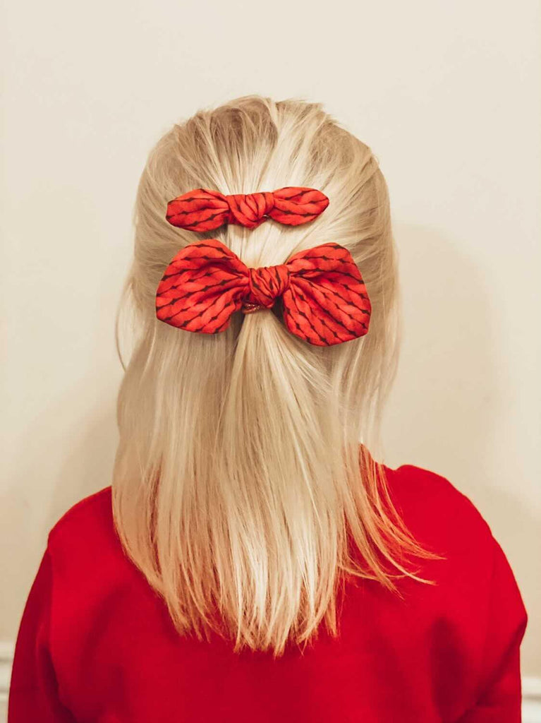 Small Bow set- Red knit