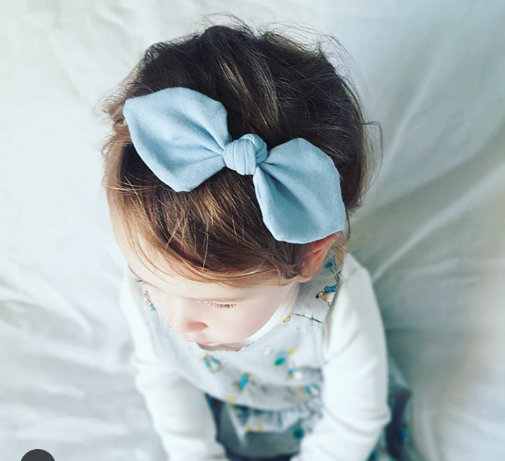 Pale Blue baby girl bow headband